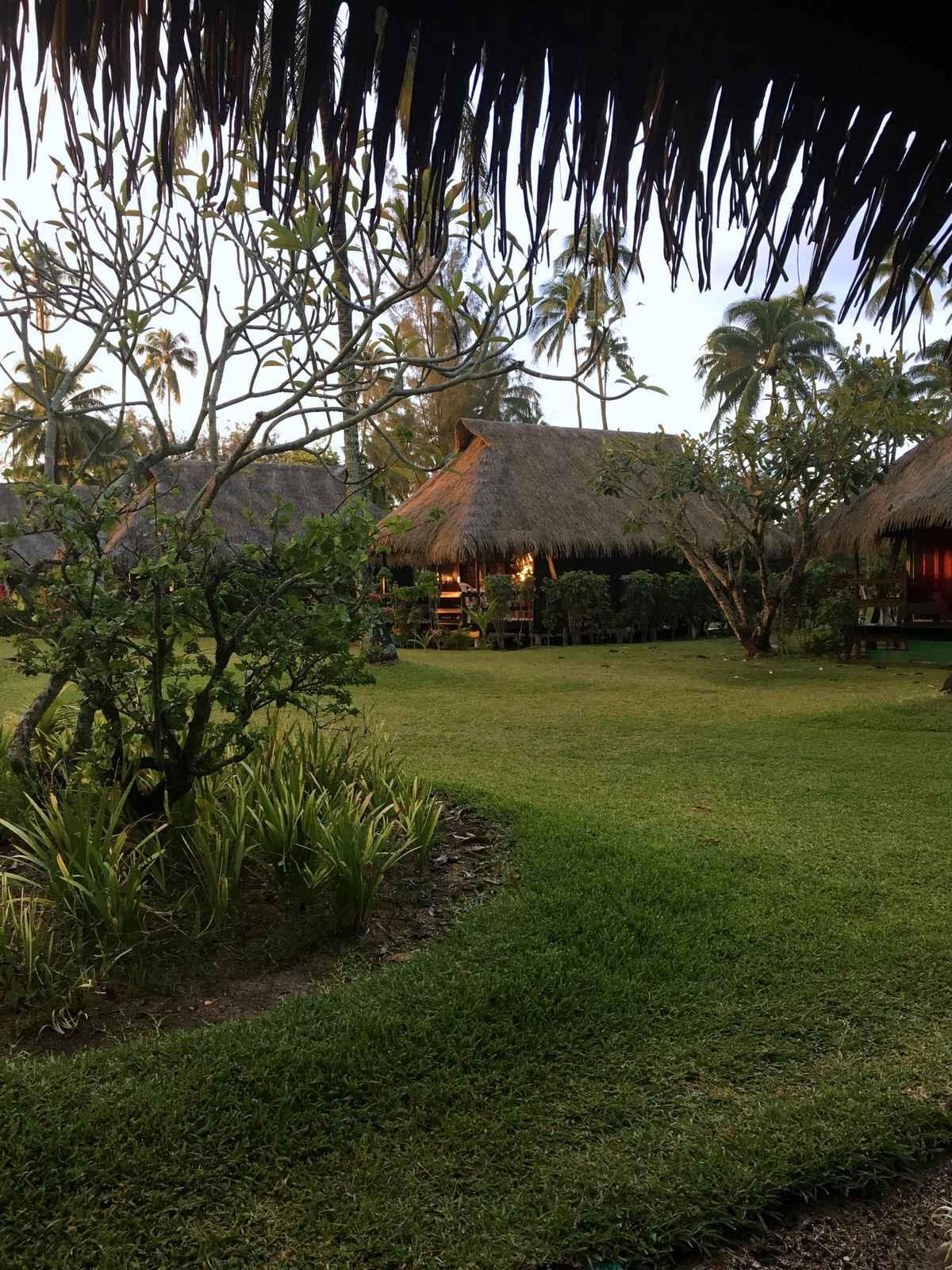 vue sur les bungalows jardin de l'hôtel Hibiscus à Moorea en Polynésie